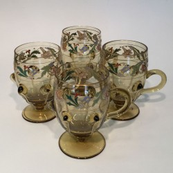 Moser Karlsbad Light Umber Glass Custard Cups...