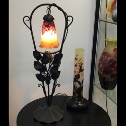 French Art Deco Lamp, Wrought Iron Base with...
