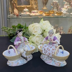 A pair of Meissen Porcelain Figural Salt Dishes