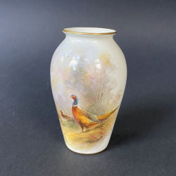 Royal Worcester Porcelain Vase, Hand painted a...