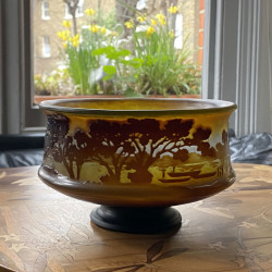 Emile Galle Cameo Glass Landscape Bowl with foot