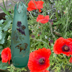 Emile Galle Cameo and Enamelled Glass Poppy Vase