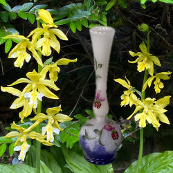Daum Nancy Cameo and Enameled Glass Orchid Vase