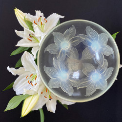 Rene Lalique Clear and Opalescent Glass Lys Bowl
