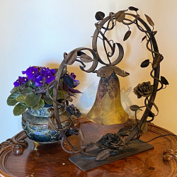 Daum Nancy Table Lamp Wrought Iron Base and...