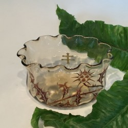 Antique Emile Galle enamelled glass bowl. Circa 1890.