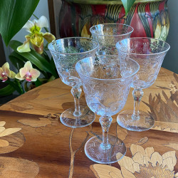 Thomas Webb & Son set of Four Intaglio Cut Drinking glasses