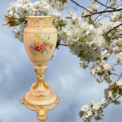 Royal Worcester Porcelain Blush Ivory pedestal...