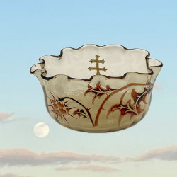 Emile Galle Early Enamelled Glass Thistle Bowl...