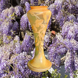Emile Galle Early Cameo Glass Wisteria Vase