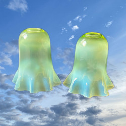 A Pair Powell Vaseline Glass Electric Lamp...