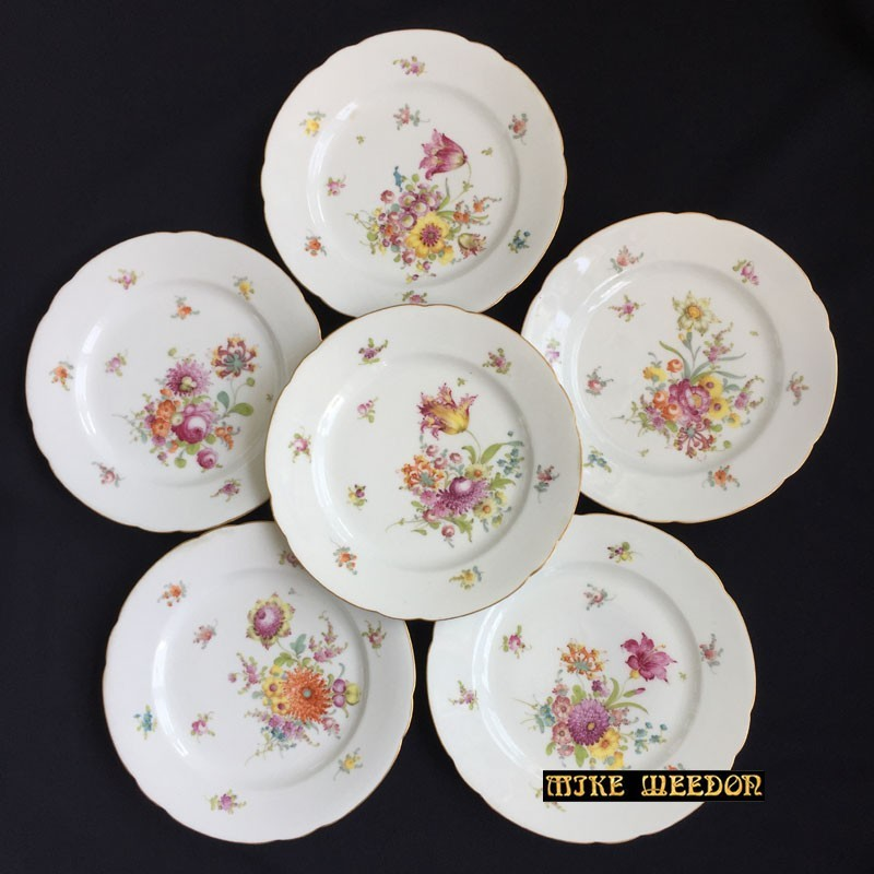 Antique Dresden porcelain set of 6 dessert plates (c.1900)