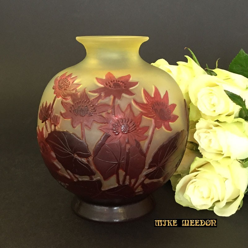 Emile Galle Overlaid Cameo Glass Vase Decorated with Flowers (c.1900)