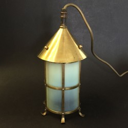 Art and Craft Brass Lantern with original Vaseline Glass Liner (c.1900)