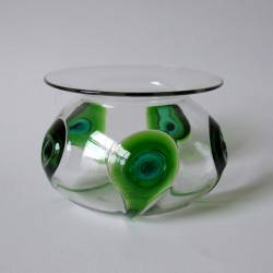 Art Nouveau Green and Turquoise Peacock Eye Trails Glass Vase (c.1900)