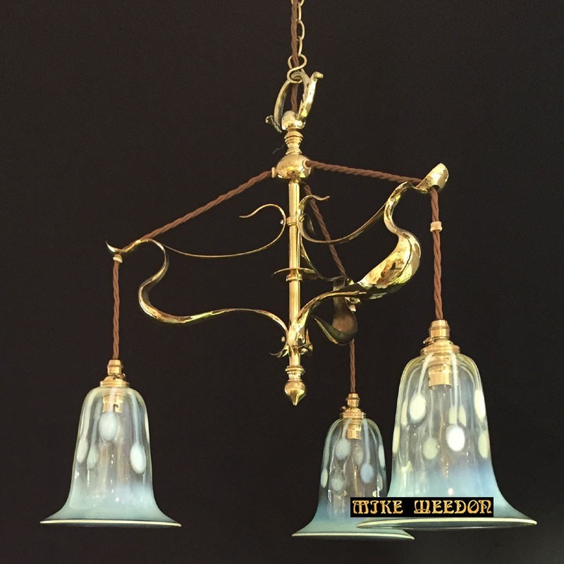 Art and Craft Brass Ceiling Light with Three Vaseline Shades (c.1900)