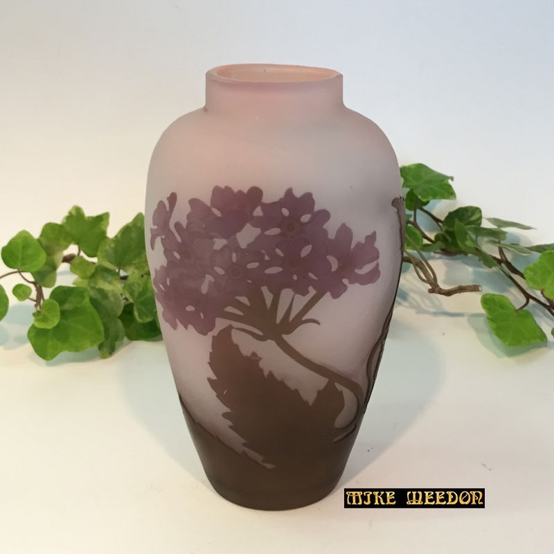 Emile Galle Cameo Glass Vase decorated with Flowers (c.1900).