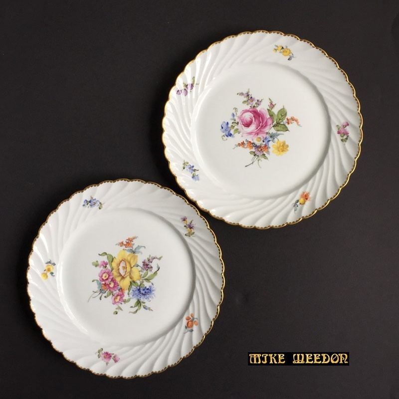 Pair antique Nymhenburg porcelain plates (c.1900)