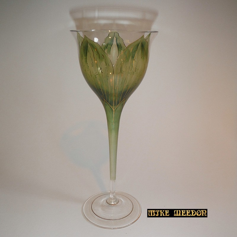 Fritz Heckert Green Tulip Formed Wine Glass (c.1900)